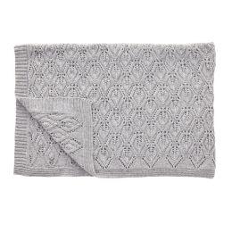 Hübsch graue Decke aus Lammwolle mit Muster 130x170cm