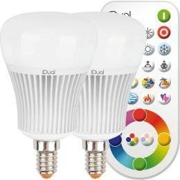 Müller-Licht LED Tropfenlampe iDual 7W (40W) E14 RGB DIM 2er Pack inkl. Fernb.
