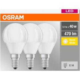 Osram LED Tropfenlampe BASE Classic 5,7W (40W) 827 E14 NODIM matt 3er-Pack