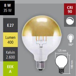 Segula LED Globelampe Ø125mm mit Spiegelkopf in Gold 8W (35W) E27 926 DIM