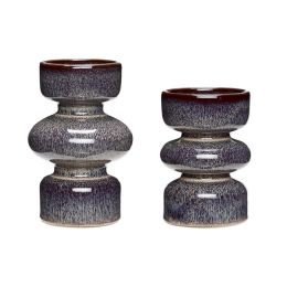 Hübsch Kerzenhalter Keramik Pflaume 2ER SET 8x12cm 10x15cm