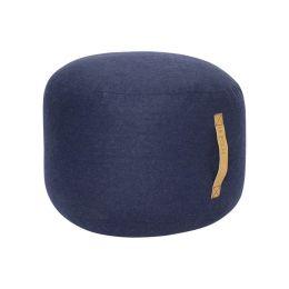 Hübsch dunkelblauer Pouf mit Ledergriff Ø50cm