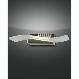 Fabas Luce geschwungene LED Wandleuchte Glove 12W aus Metall und Glas