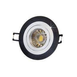MegaLight LED Einbaustrahler Set in schwarz rund inkl. LED Leuchtmittel 5W