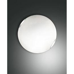 Fabas Luce schlichte Deckenleuchte Fox mit weißem Glas Ø40cm