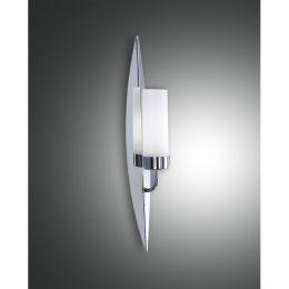 Fabas Luce Fackel-Wandleuchte Vanity mit weißem Glas