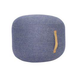 Hübsch blauer Pouf mit Ledergriff Ø50cm