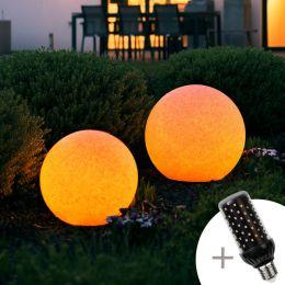 MegaLight LED Kugelleuchte ONOTS 45 in Steinoptik inkl. LED Firelamp Ø45cm