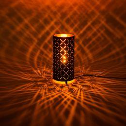 MegaLight LED Tischleuchte Shining Flame rund mit Flammeneffekt