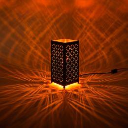 MegaLight LED Tischleuchte Shining Flame eckig mit Flammeneffekt