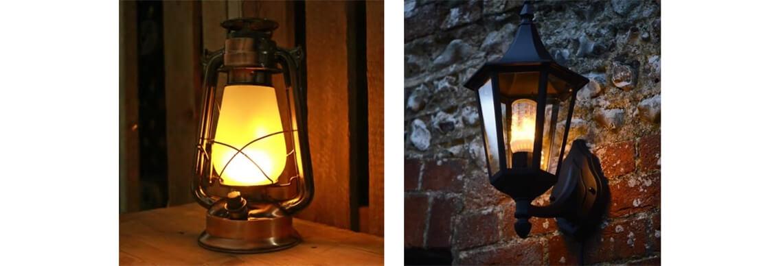 Firelamp Anwendungsbeispiel LED Lampe mit Feuereffekt