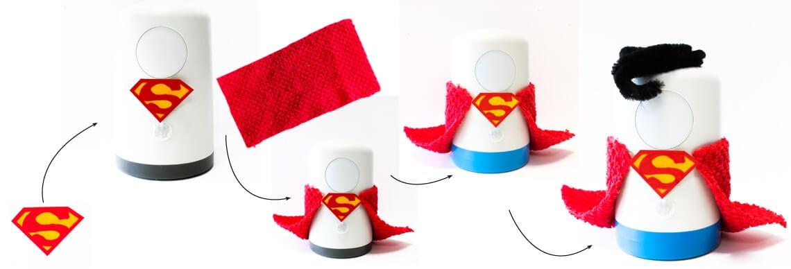 Basteln mit Kind Licht Superman